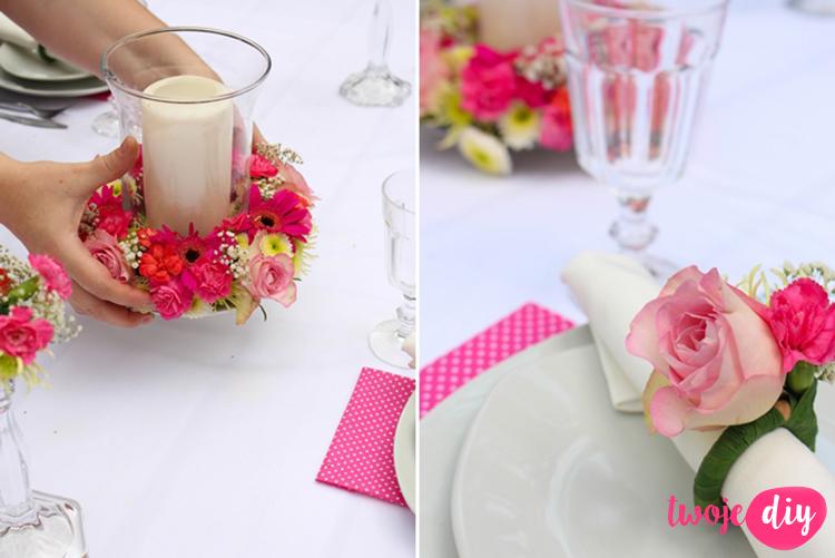 kwiatowe dekoracje na stol