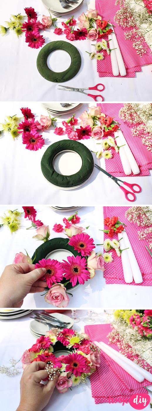 Kwiatowy wianek na stol